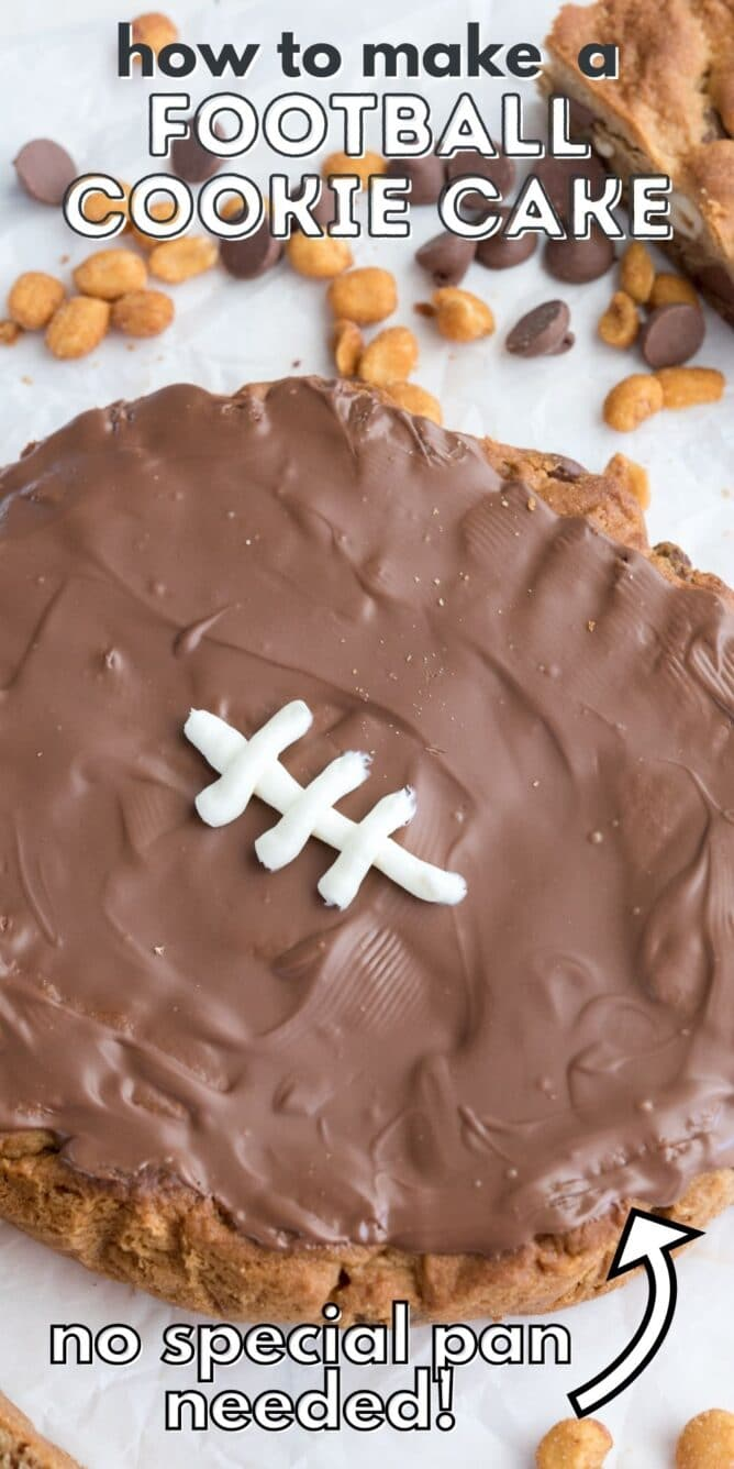 overhead shot of cookie cake decorated like a football with words on photo