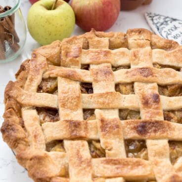 Apple Cider Pie with a lattice top
