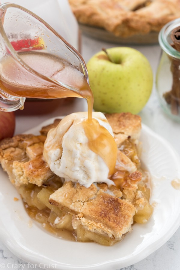 Apple Cider Sauce on top of Apple Cider Pie!