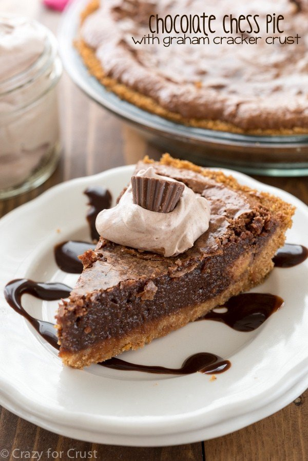 Chocolate Chess Pie with graham cracker crust - this easy pie recipe is perfect for any occasion! The filling is gooey and chocolatey and perfect with the crunchy graham cracker crust!