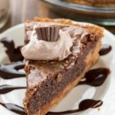 Slice of Chocolate Chess Pie on a white plate