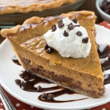 Slice of Chocolate Chip Pumpkin Pie on a white plate