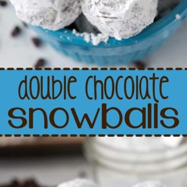 Collage of Double Chocolate Snowball Cookies