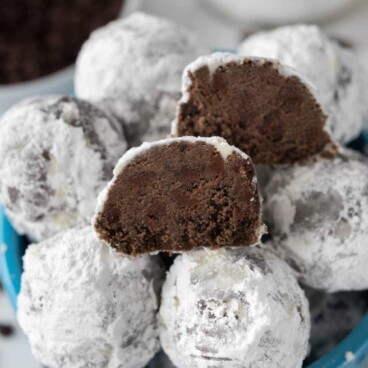 Double Chocolate Snowball Cookies in a blue bowl