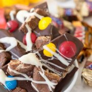 Easy Candy Bar Bark in a white bowl