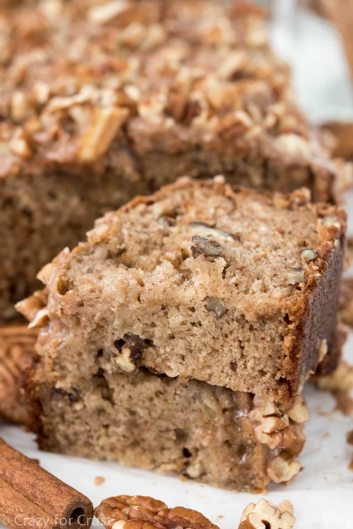 Cinnamon Pecan Banana Bread is such an easy recipe! Yummy banana bread filled with cinnamon spices and pecans with a cinnamon glaze!