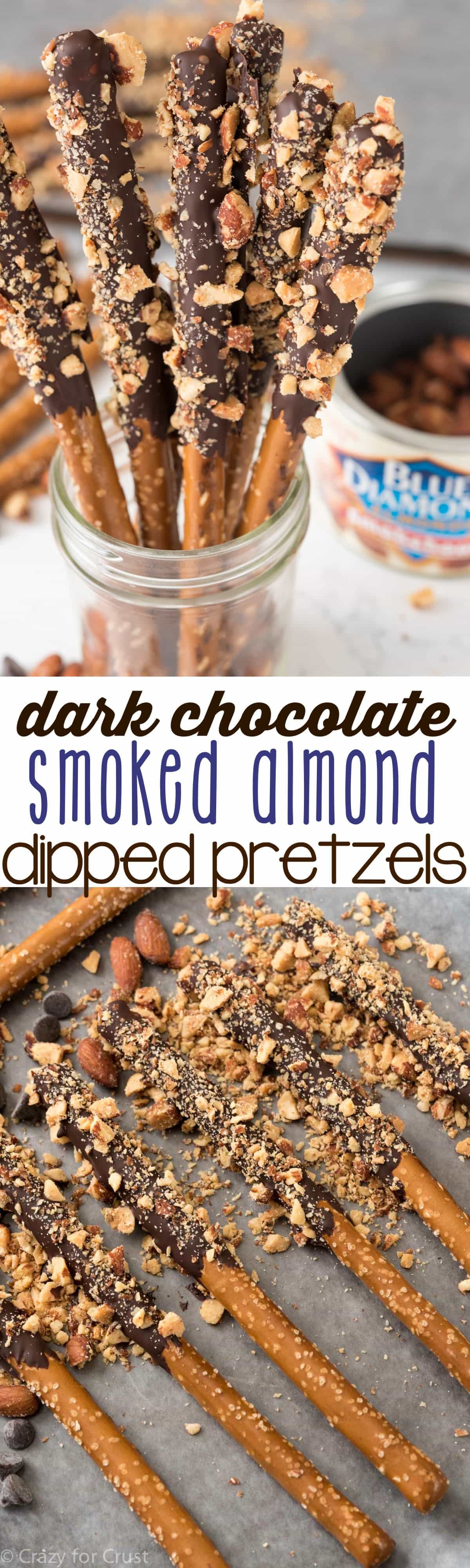 Dark Chocolate Almond Dipped Pretzels - this easy recipe is perfect for parties or homemade gifts for the holidays! Only 3 ingredients and they only take minutes to make!