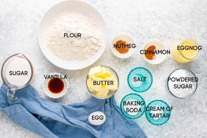 Ingredients to make Eggnog Snickerdoodles with frosting