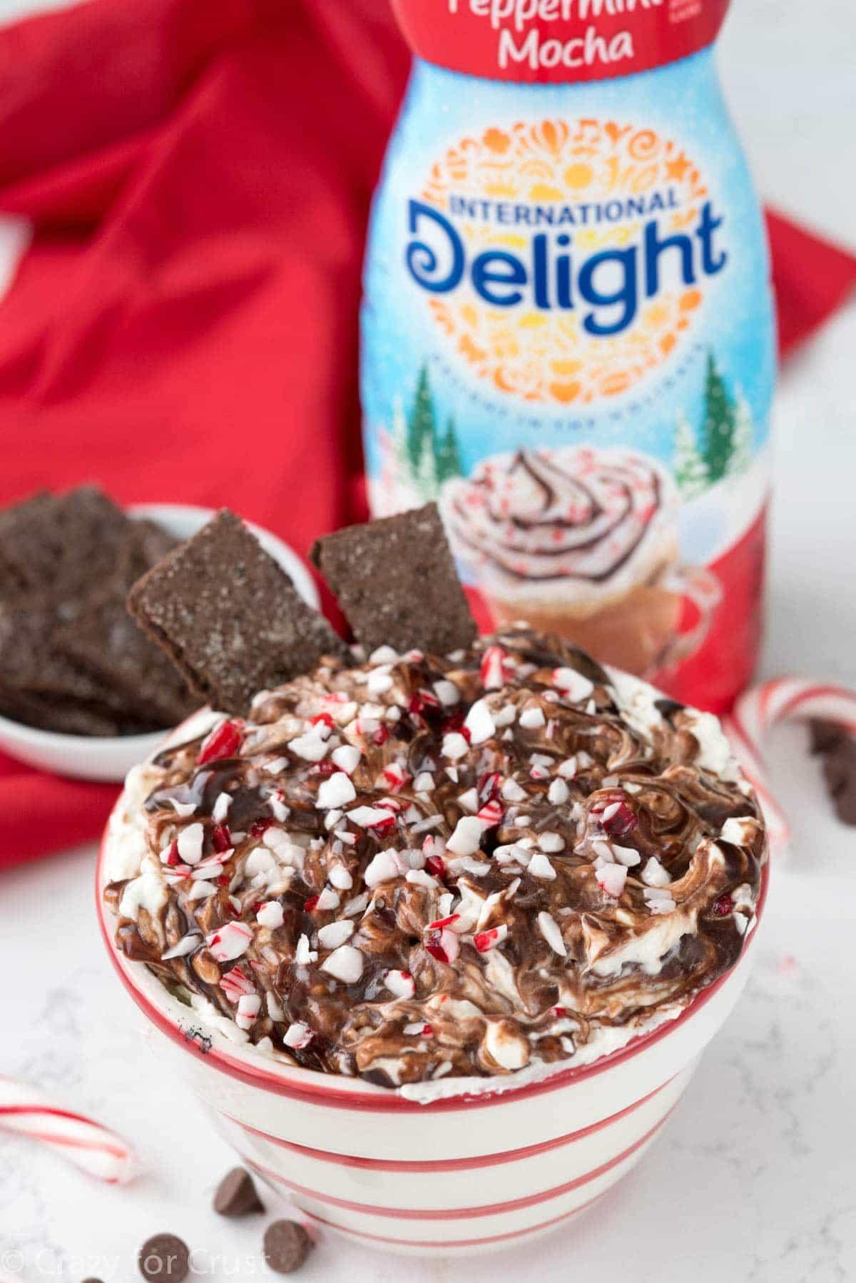 Peppermint Mocha Cheesecake Dip Recipe using International Delight Peppermint Mocha coffee creamer