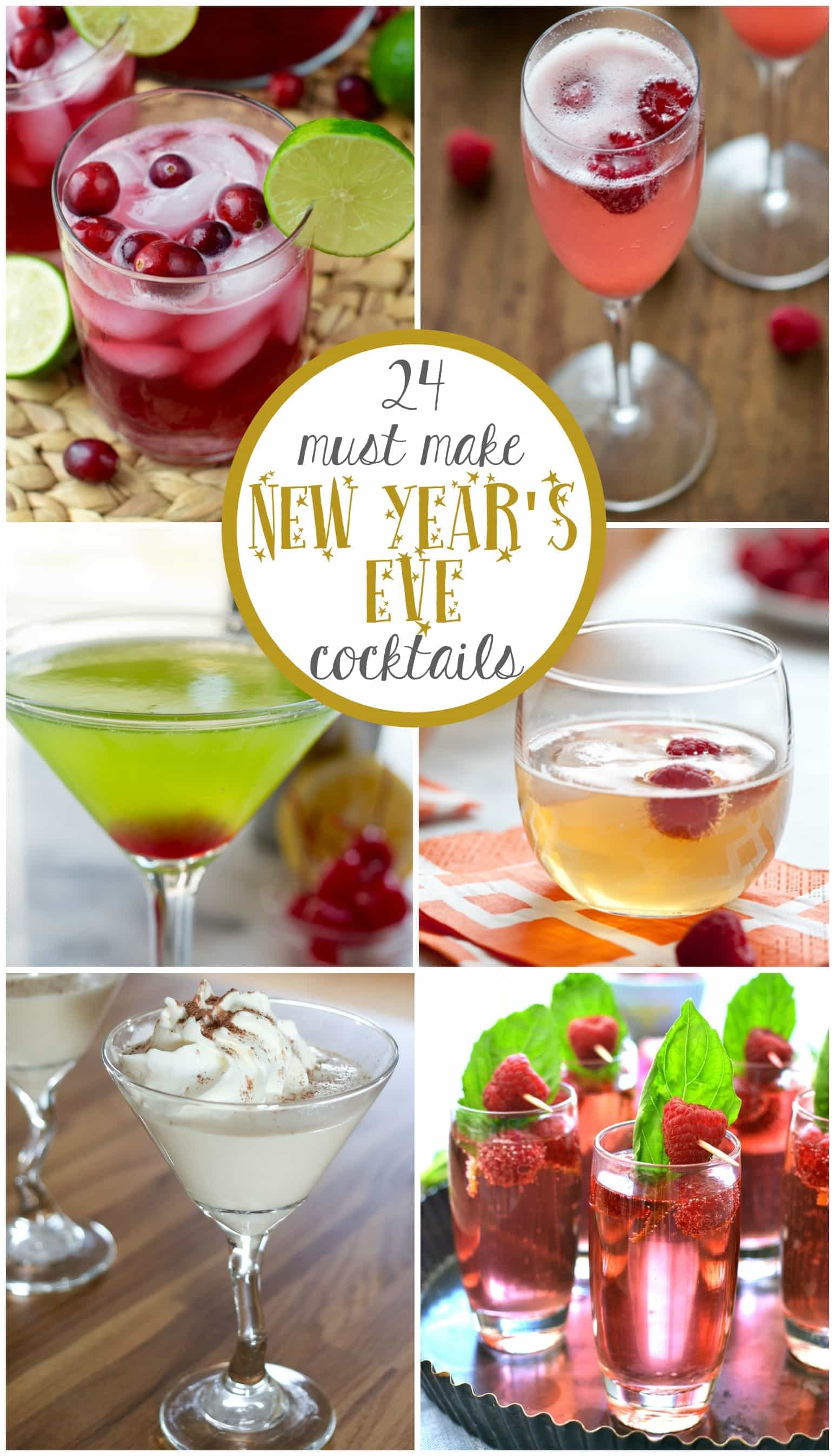 24 New Years Eve Cocktail Recipes you must make this year! Champagne, sangria, punch, martinis - these easy recipes will delight a crowd!