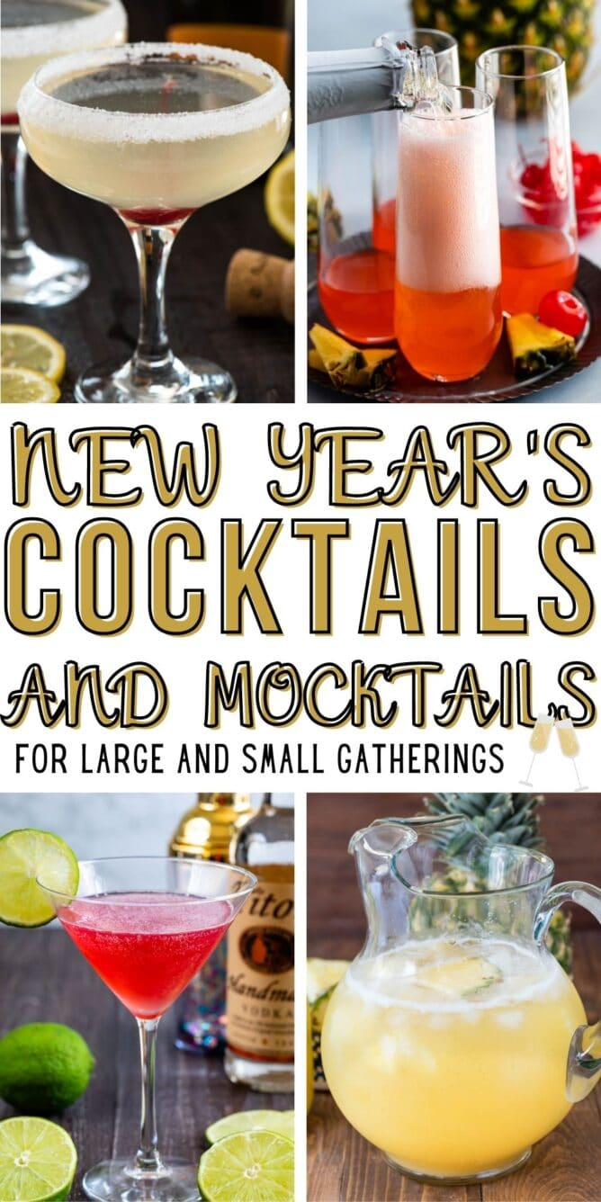 collage of 4 cocktails with words