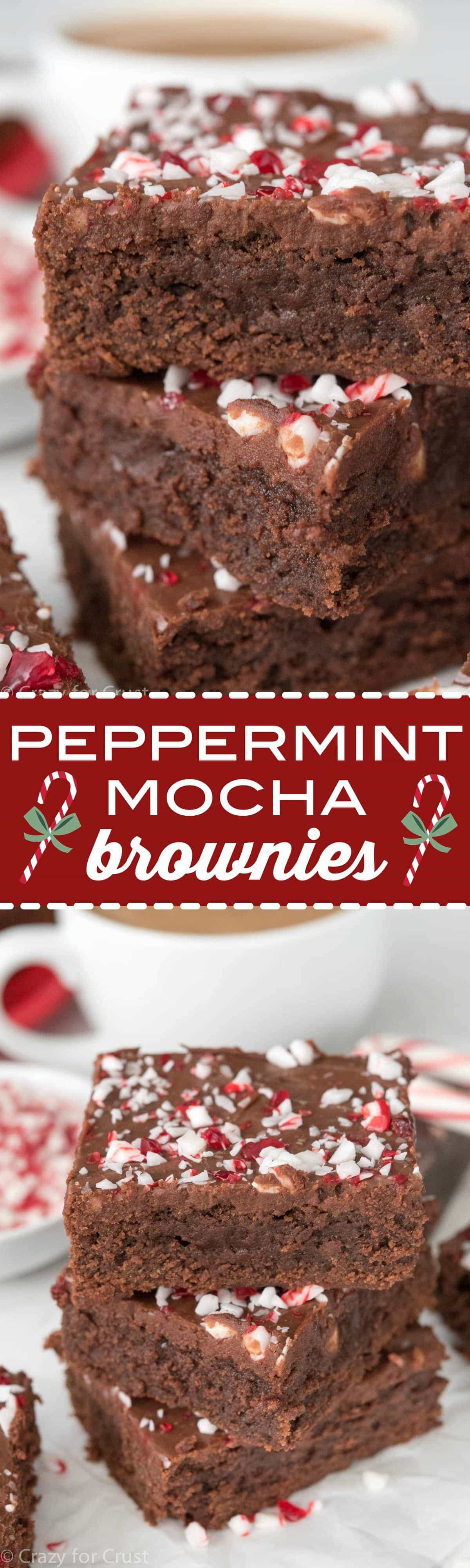 Peppermint Mocha Brownies - this easy brownie recipe yields a thick and fudgy brownie filled with peppermint mocha flavor!