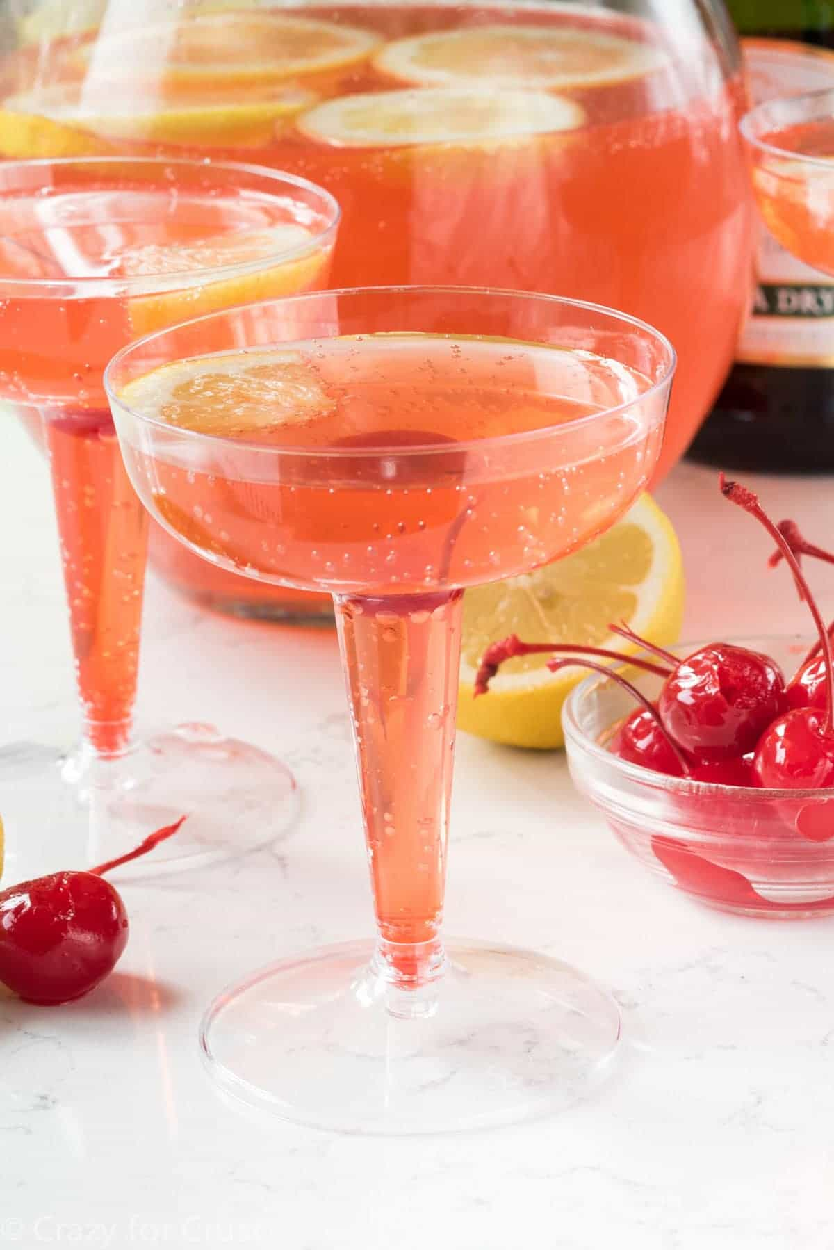 Pink Lemontini Champagne Cocktail - this easy recipe is perfect as a single martini or a party punch!