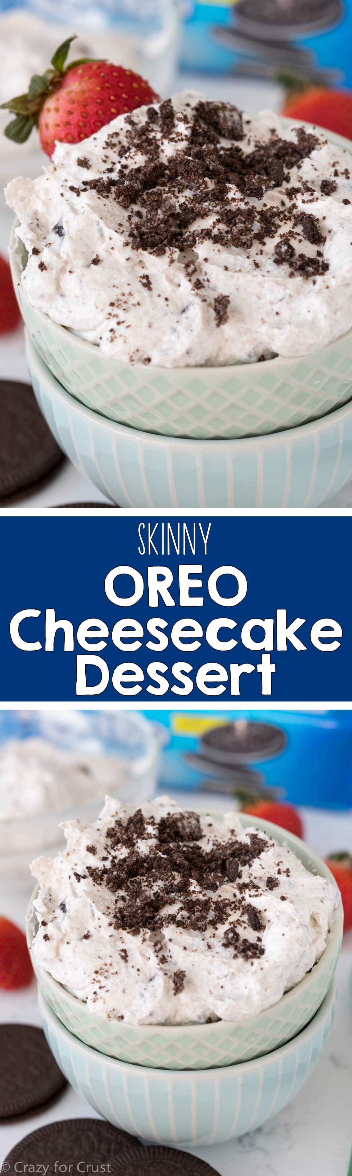 Skinny Oreo Cheesecake Dessert - this easy no-bake Oreo Cheesecake can be used as a dip or eaten with a spoon. And it has less fat and calories and more protein!