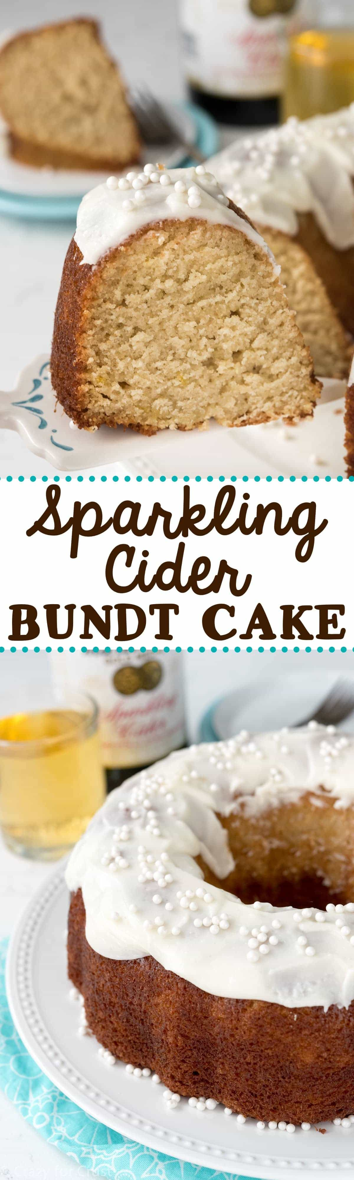 Sparkling Apple Cider Cake - this easy recipe uses Sparkling Apple Cider in every part of the recipe! Perfect for a party!