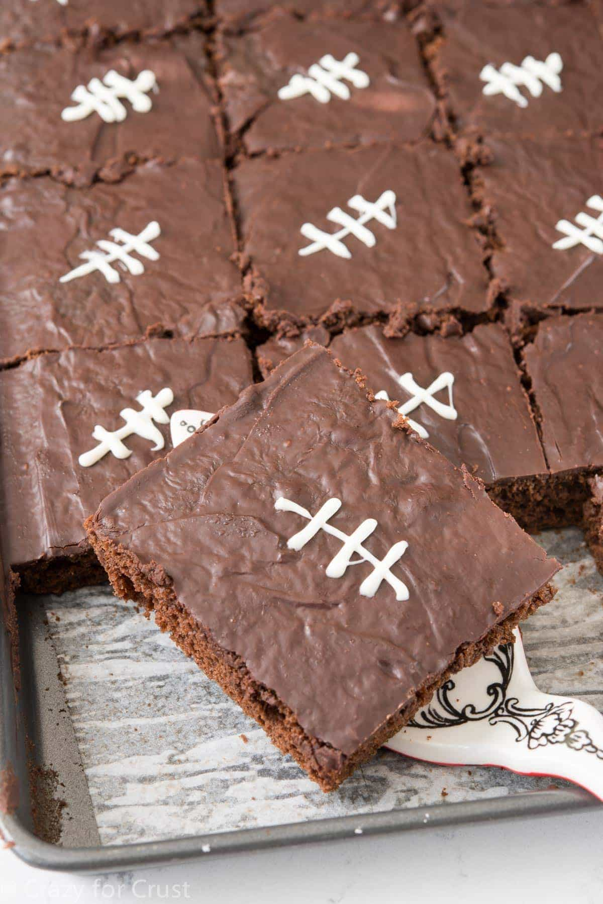 Better Chocolate Sheet Cake Recipe - turn an easy chocolate sheet cake into a football sheet cake!