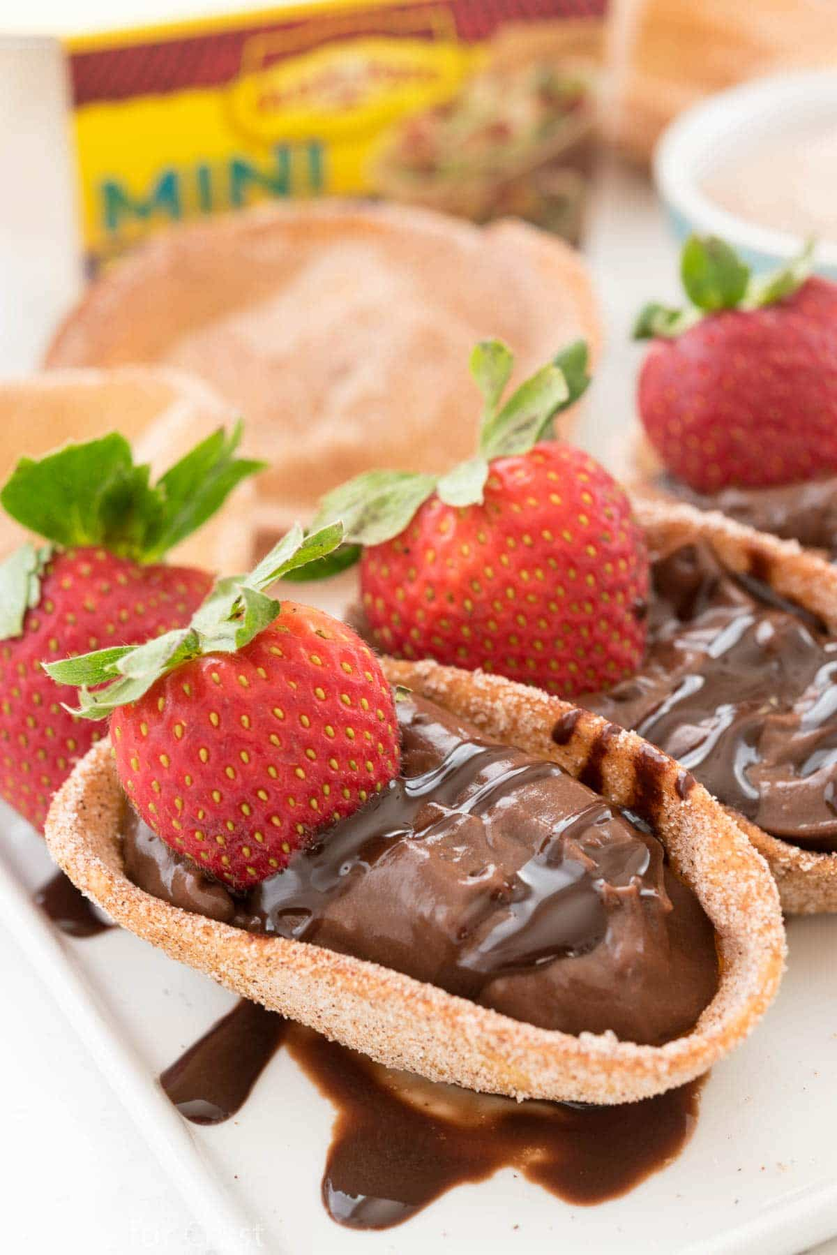 Chocolate Churro Pies - an easy churro made out of tortillas and filled with chocolate pudding!