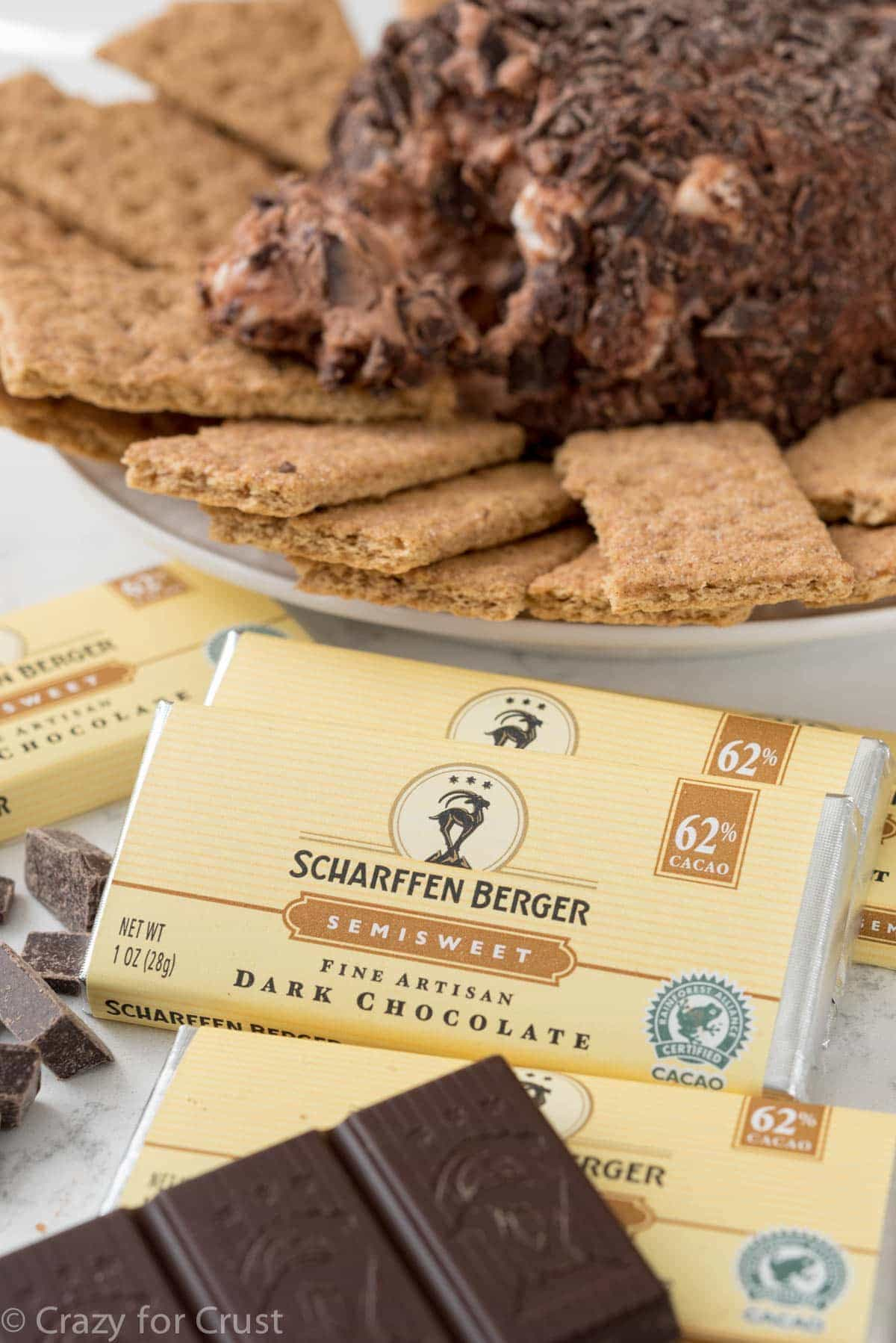 Scharffen Berger Chocolate used in making a chocolate s'mores cheeseball.
