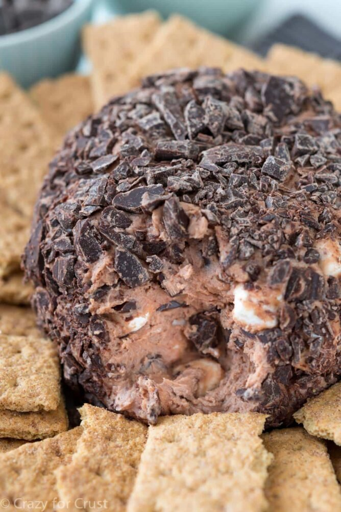 Chocolate smore ball with graham crackers to dip