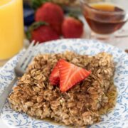 baked oatmeal recipe on plate