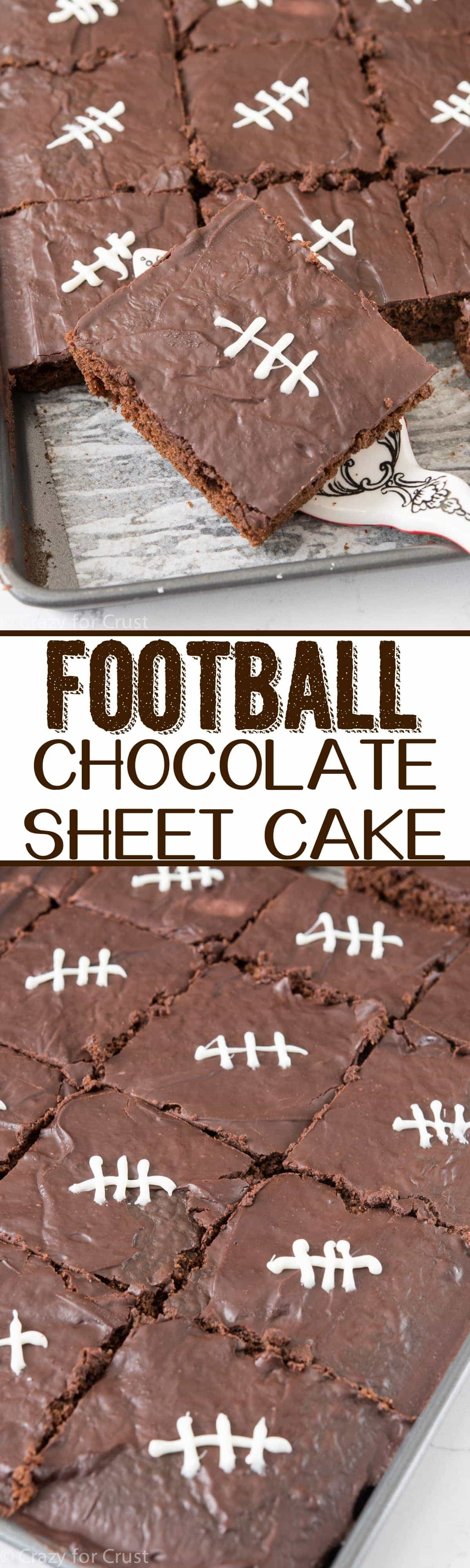 Turn an easy BETTER chocolate sheet cake recipe into one that's perfect for watching FOOTBALL! It's a FOOTBALL Chocolate Sheet Cake!