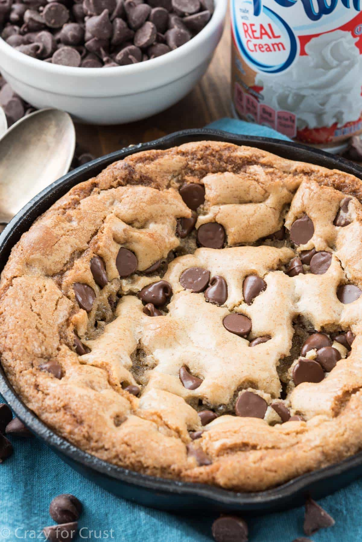 Small Batch Chocolate Chip Skillet Cookie - Crazy for Crust