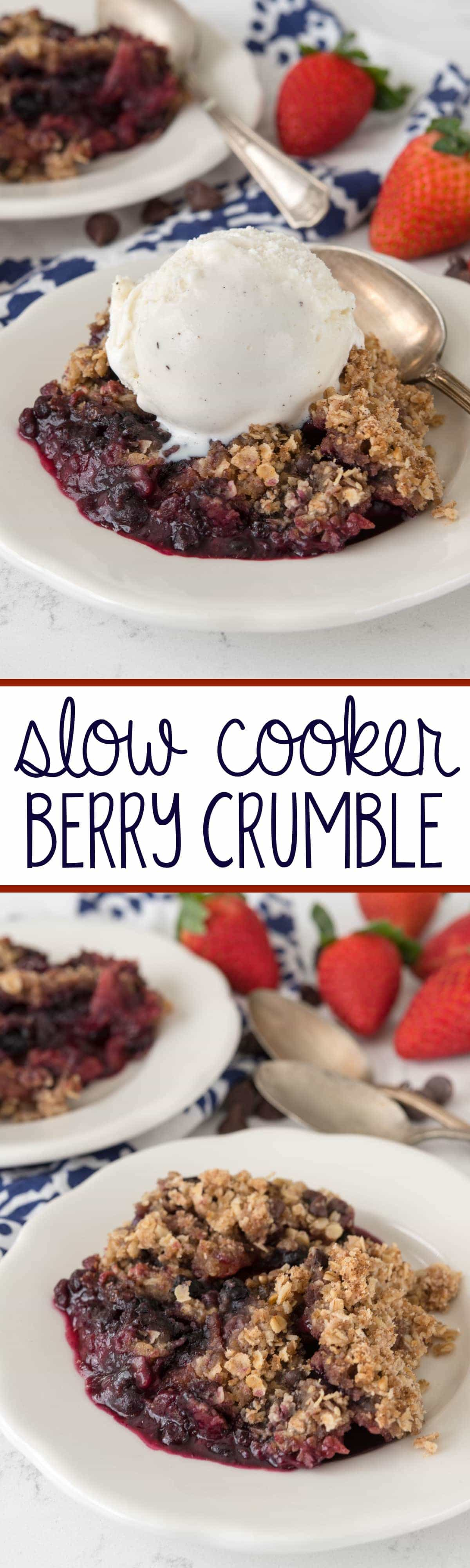 Slow Cooker Berry Crumble - this EASY recipe makes crumble in a crockpot! It's like a cookie on top of fruit, it's low sugar, and it's gooey and perfect.