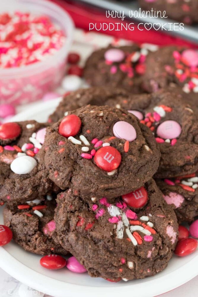 Very Valentine Pudding Cookies on a white plate with writing