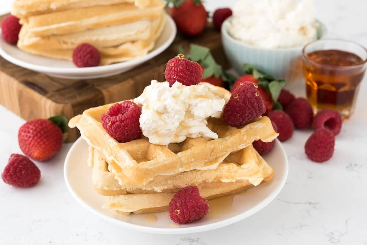 Cheesecake Waffles - fluffy waffles and no bake cheesecake make the perfect breakfast.