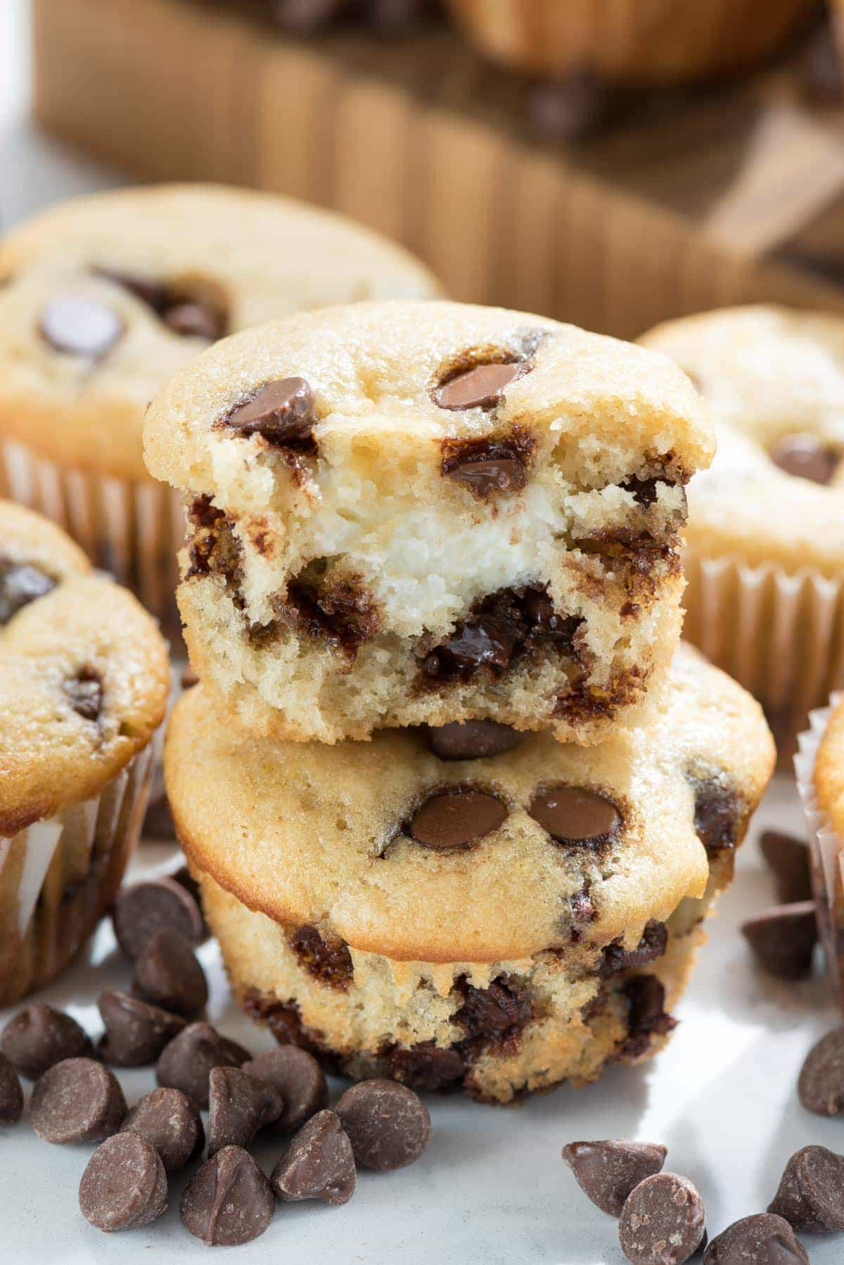 Cream Cheese Filled Chocolate Chip Muffins Recipe