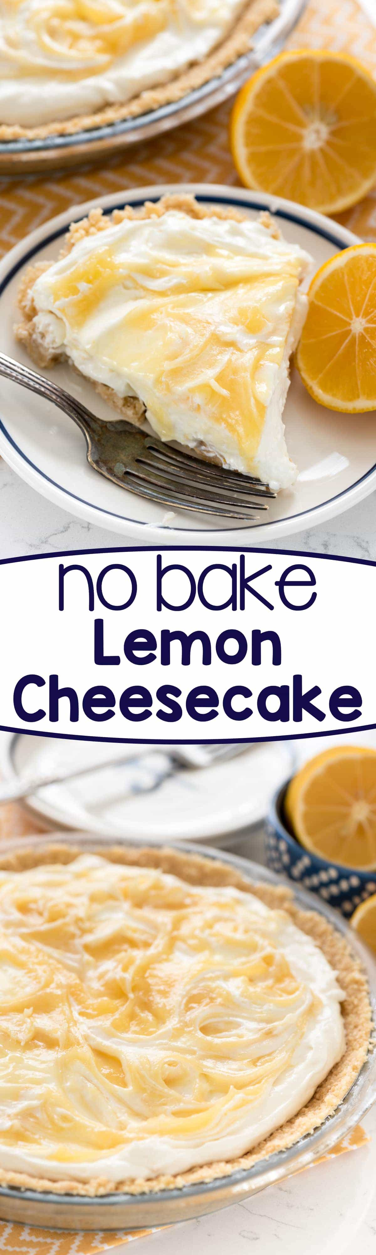 No Bake Lemon Cheesecake - this easy no bake cheesecake is full of lemon flavor! It's the perfect no bake pie recipe!