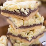 Stack of nutella crumble cake bars