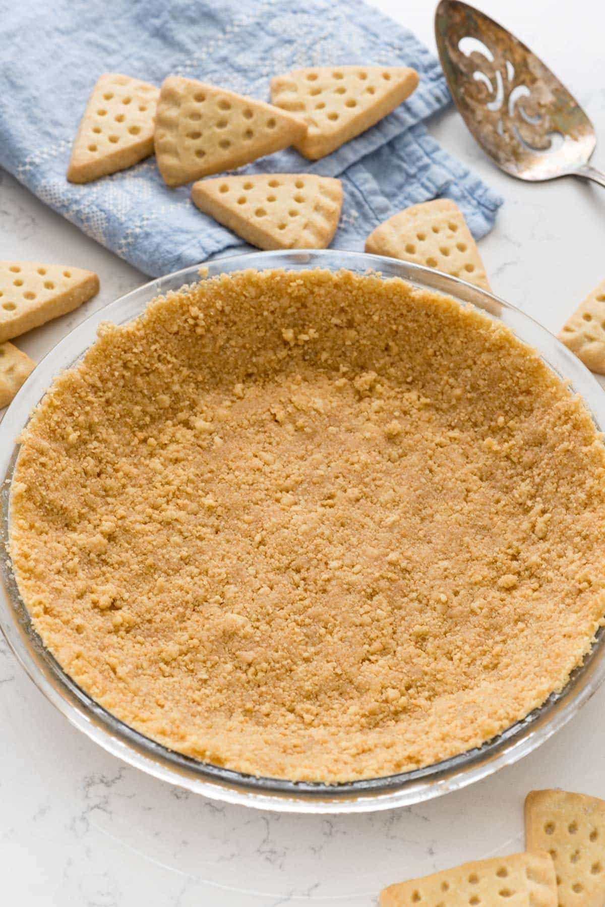 The BEST Shortbread Crust Recipe - this easy shortbread crust is made from shortbread cookies and is perfect for any no-bake pie recipe!