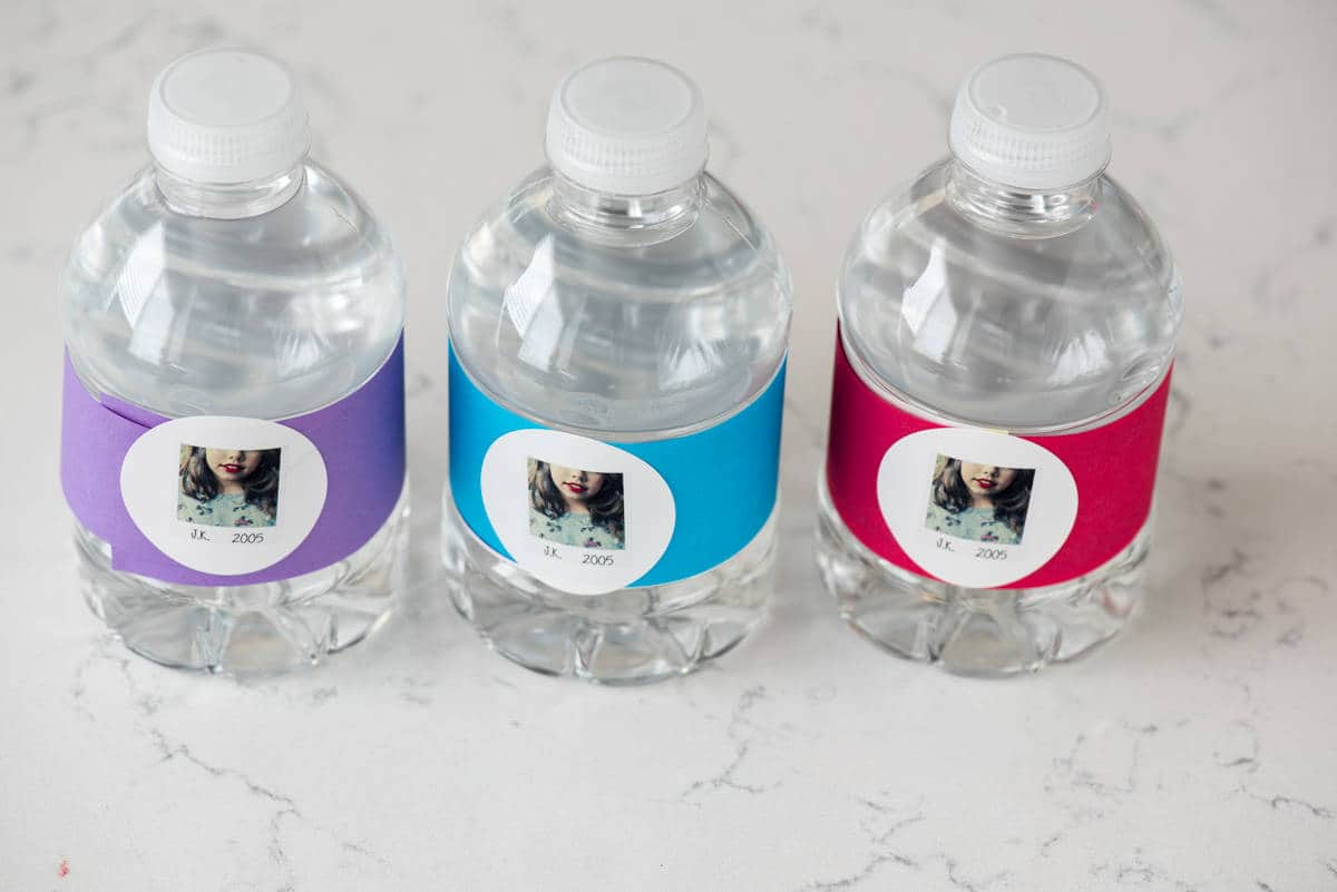 Taylor Swift Party - make easy water bottle covers with construction paper and labels.