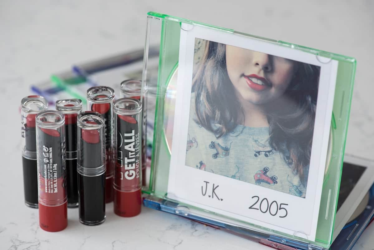 Taylor Swift Party favors - red lipstick and homemade CDs!