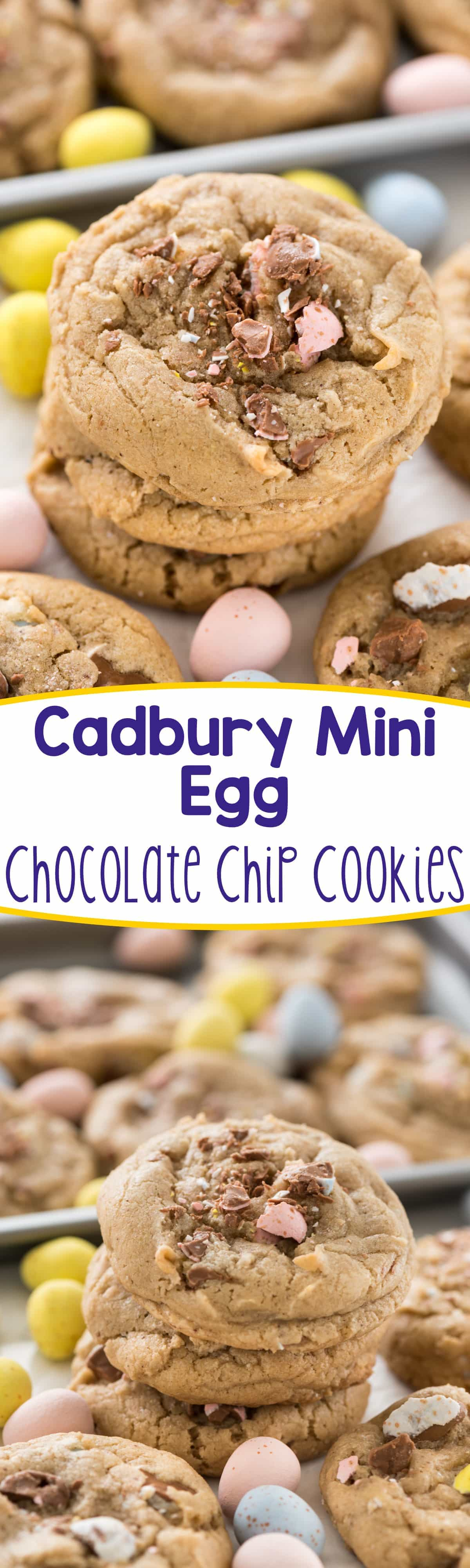 Cadbury Egg Cookies - this easy chocolate chip cookie recipe is filled with Cadbury Mini Eggs! They're the perfect Easter dessert.
