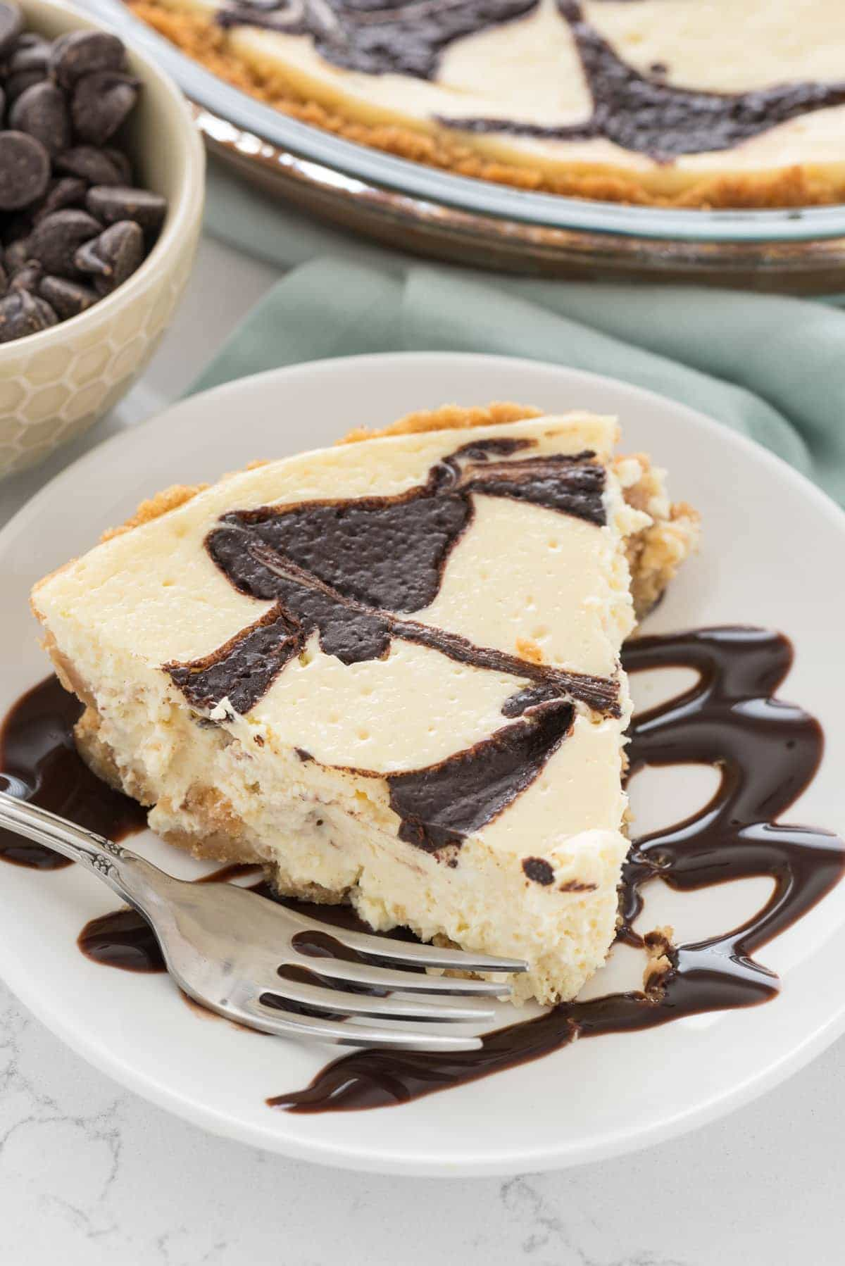 Chocolate Swirl Cheesecake Pie