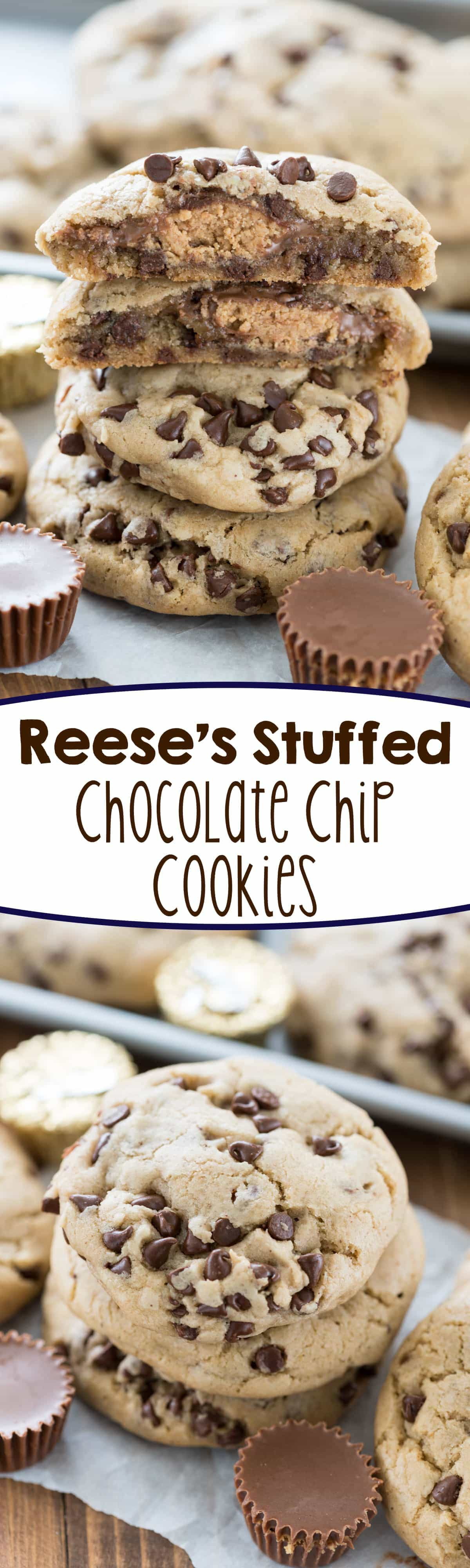 Reese's Stuffed Chocolate Chip Cookies - Crazy for Crust