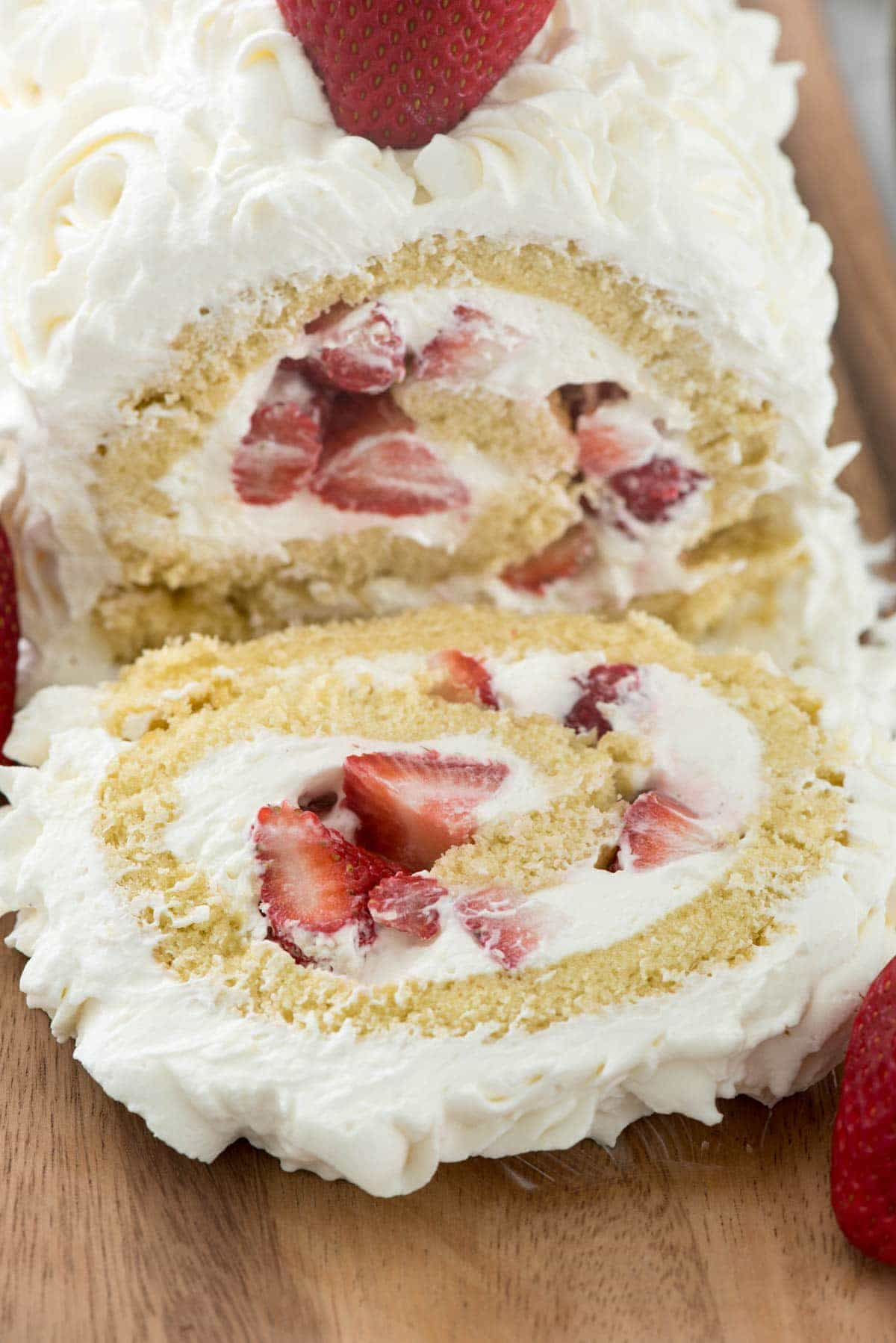 Strawberry Shortcake Cake Roll Recipe with cream cheese whipped cream - it's to die for!