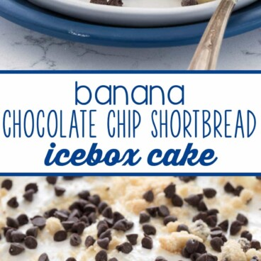 Banana chocolate chip shortbread icebox cake photo collage with words in the middle