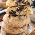Stack of chocolate chip snickerdoodles cookies with melted chips