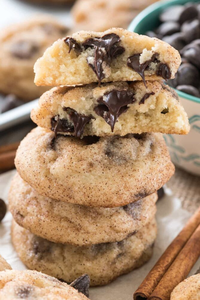 Stack of chocolate chip snickerdoodle cookies