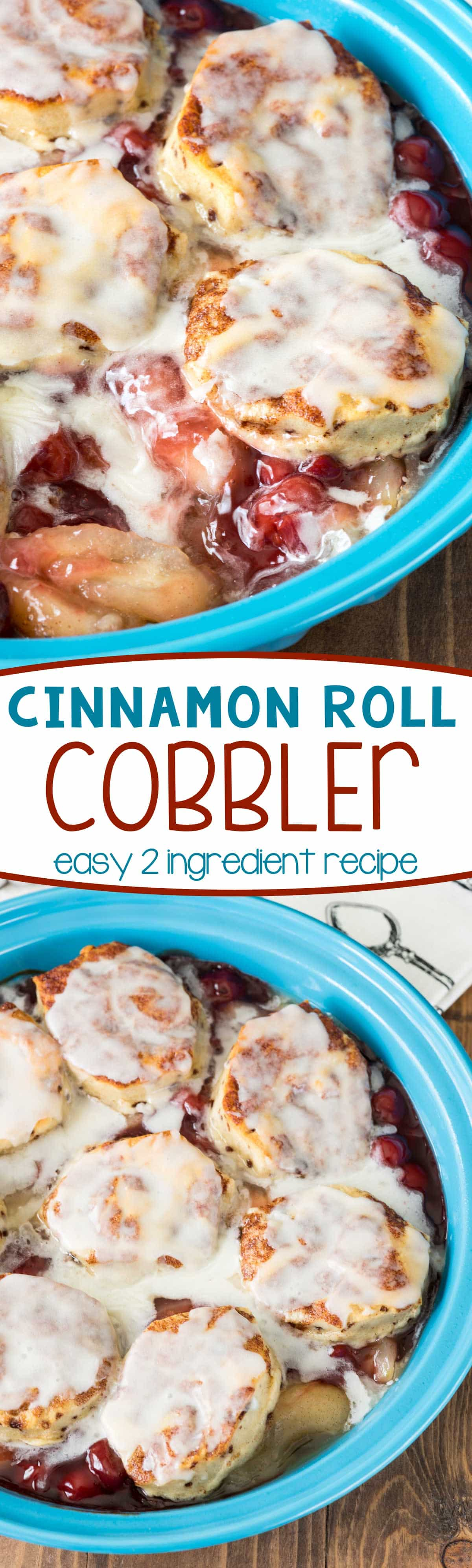 This Cinnamon Roll Cobbler is an easy 2 ingredient recipe that's the perfect brunch, breakfast, or dessert! Everyone loved this - the kids made it themselves!