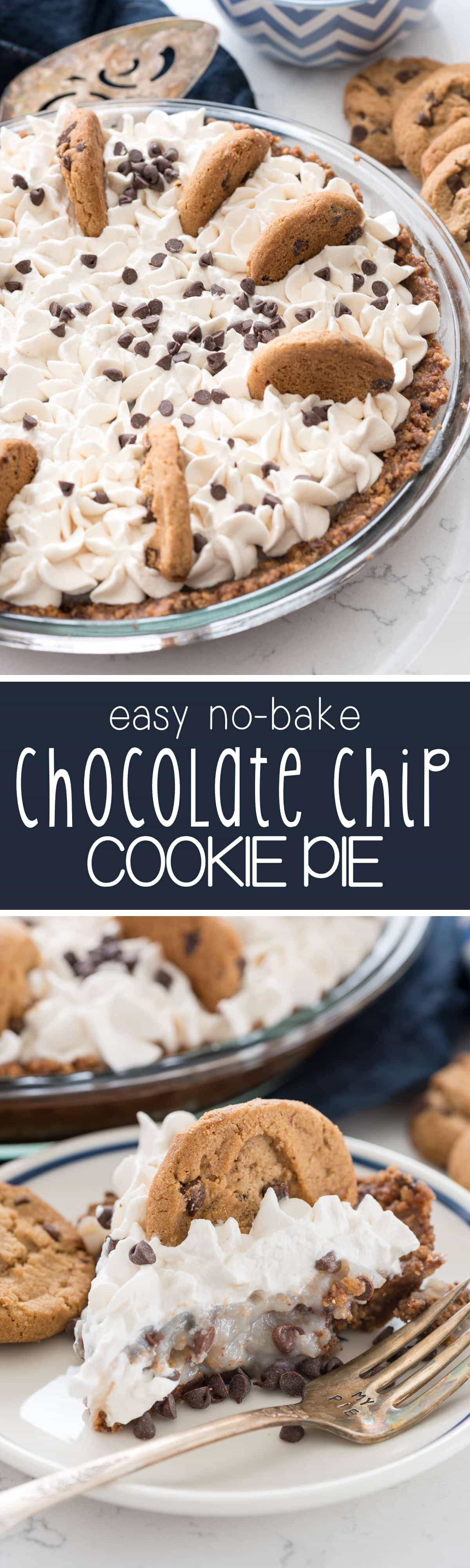 No Bake Chocolate Chip Cookie Pudding Pie - this pie has an easy no bake chocolate chip cookie crust and is filled with pudding and more cookies! My family loved this pie!