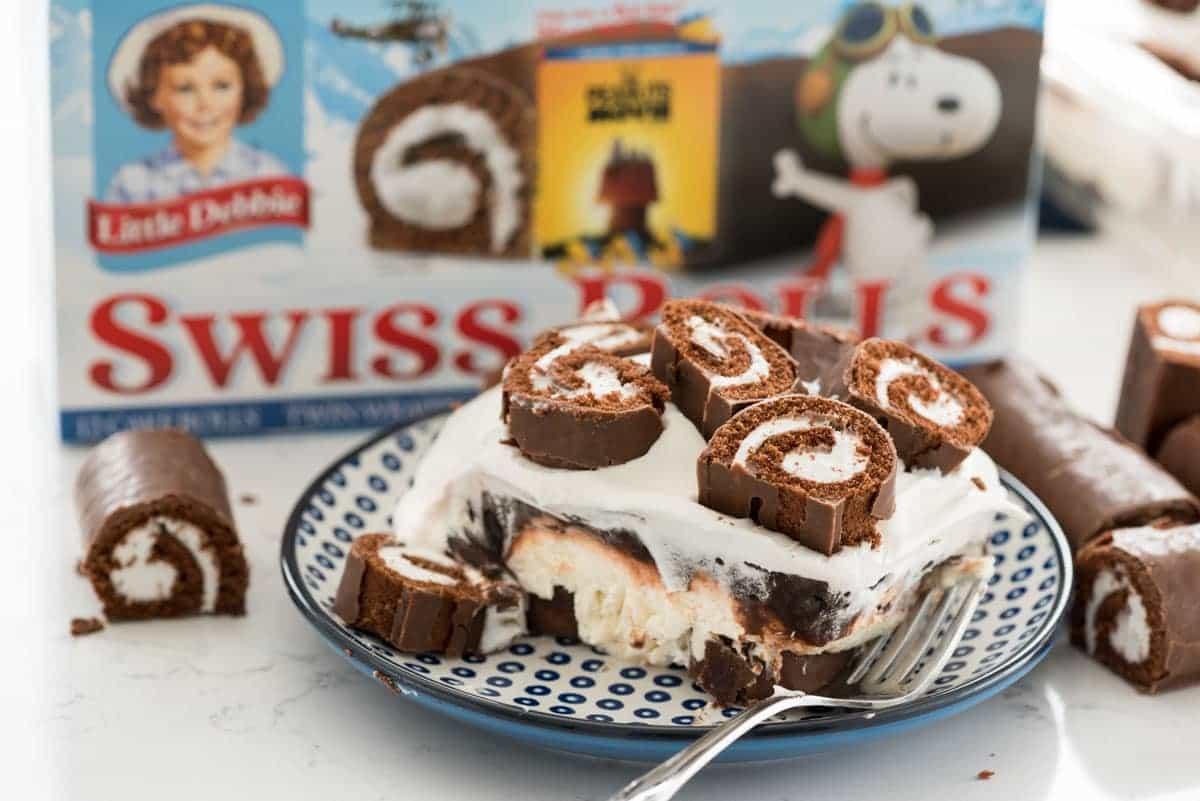 Swiss Roll Layered No Bake Dessert Recipe