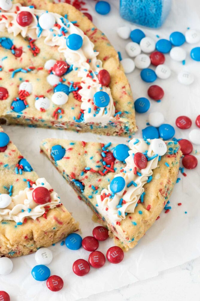 Fireworks Sugar Cookie Cake with one slice cut out
