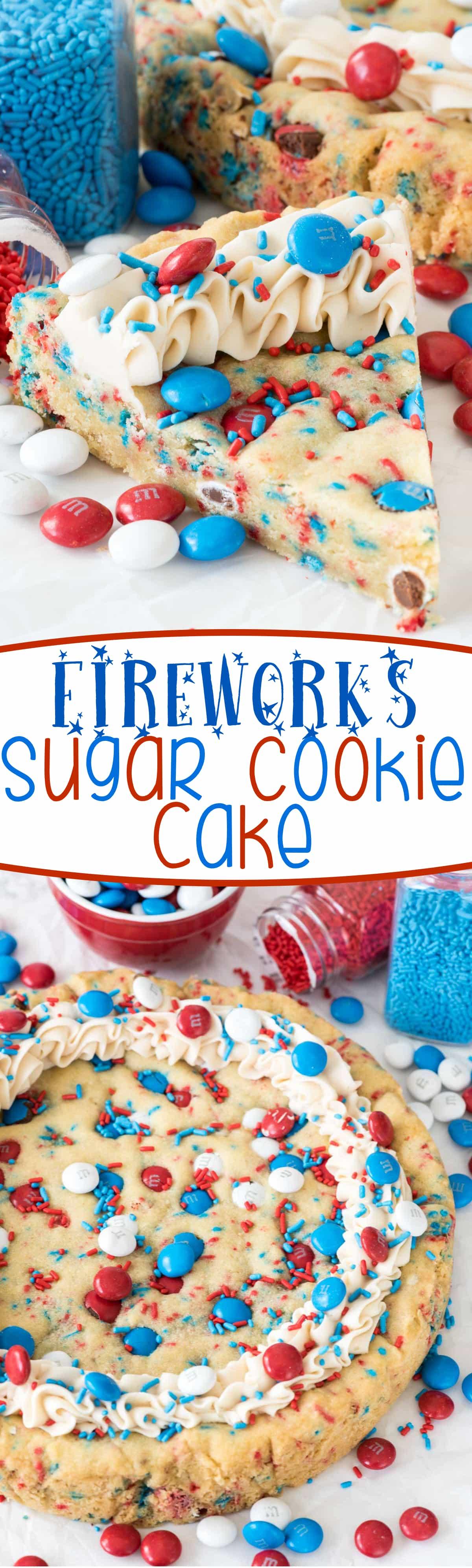 Fireworks Sugar Cookie Cake Recipe - this EASY sugar cookie recipe is ...