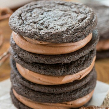 Stack of three homemade nutella oreos