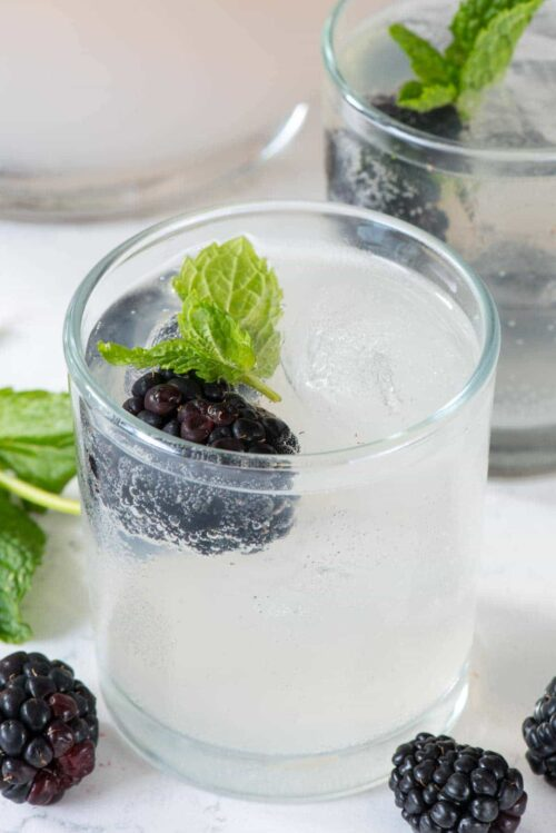 Fruit cocktail in a small glass with mint leaves