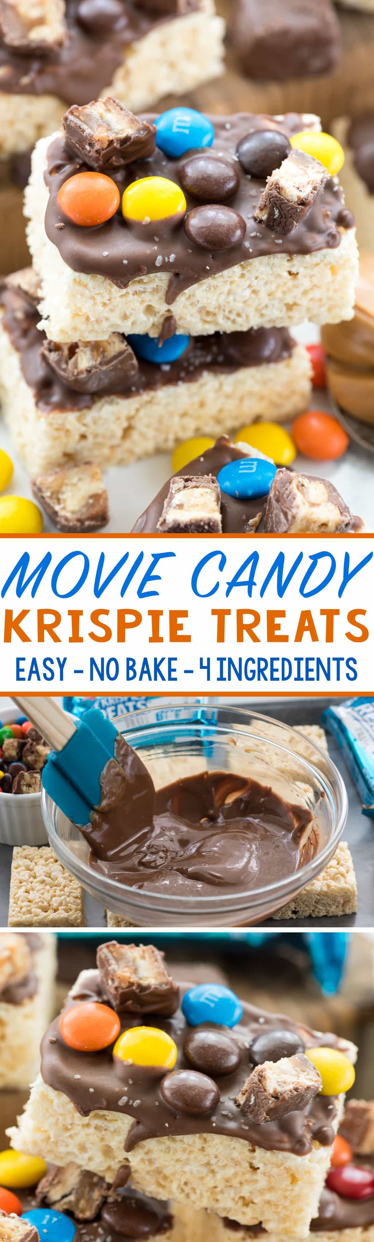 Movie Candy Krispies Treats - this easy no bake rice krispies treats recipes takes only minutes to make. It's the perfect recipe for movie night!